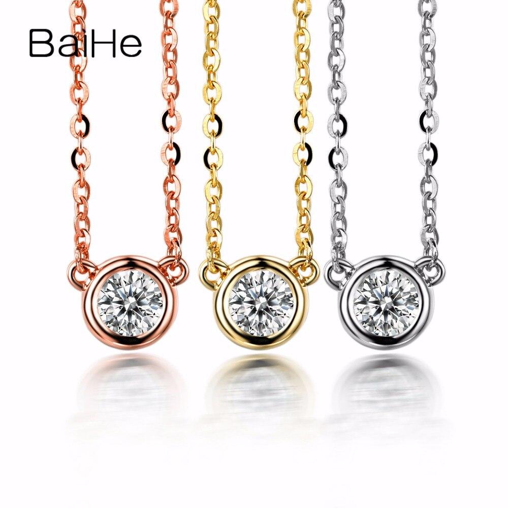 BAIHE Solid 14k Yellow Gold(AU585) H/SI 100% Natural Diamond Women Engagement Fine Necklace Fashion Pendant