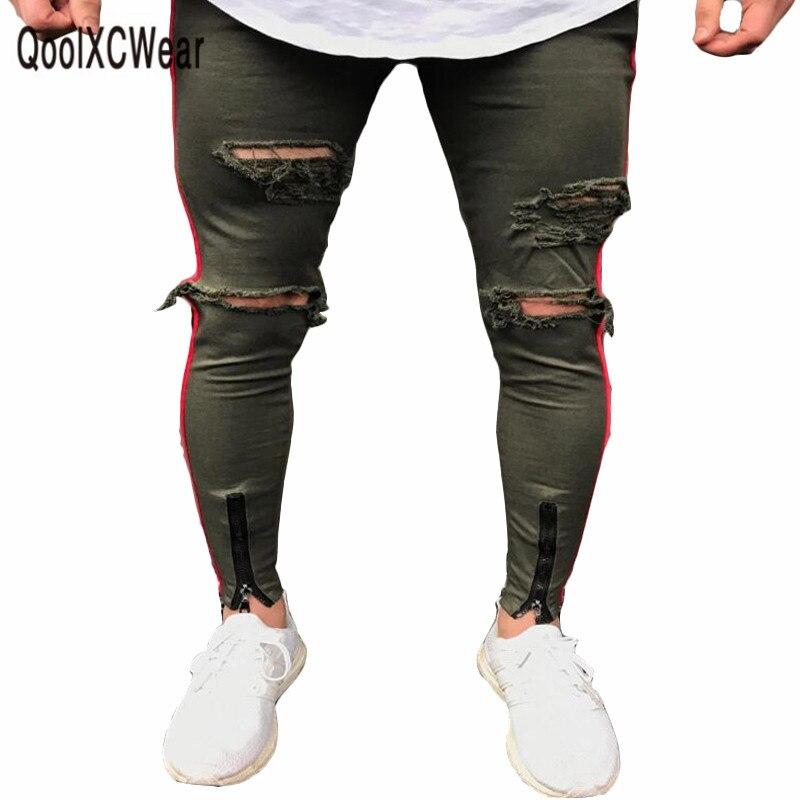 2018 Nuovo Arrivato Uomini Jeans Used Slim Elastico Pantaloni Degli Uomini Dei Jeans Denim Jeans Biker Hip Hop Lavato Jeans Strappati Dolcezza Gradevole