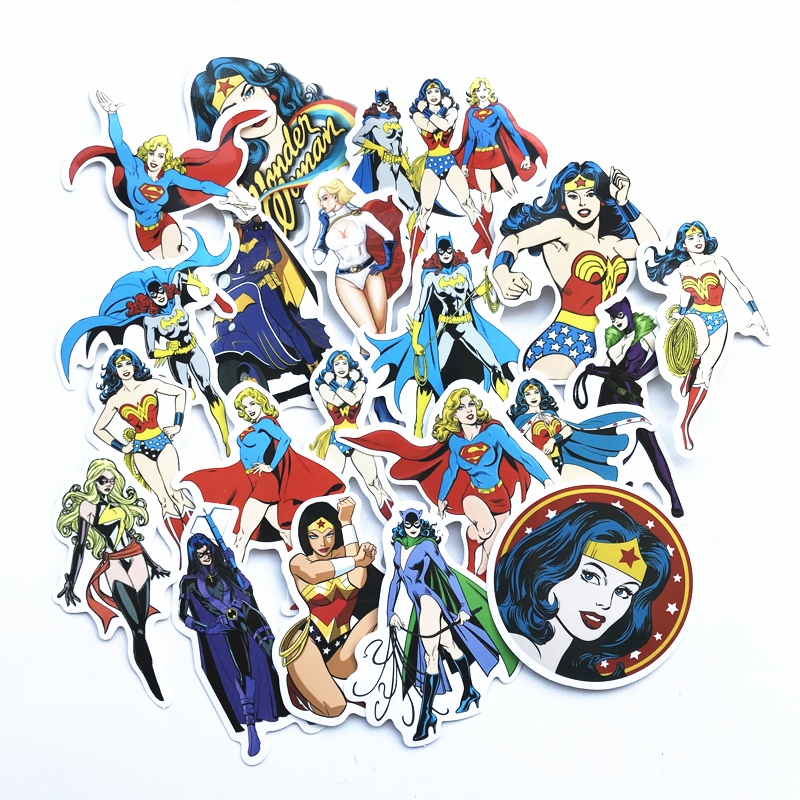 TD ZW 20 Pcs/lot Wonder Woman Stickers Supergirl Cat Woman Sticker For Car Laptop Pad Skateboard Motorcycle Decal Toy StickerTD ZW 20 Pcs/lot Wonder Woman Stickers Supergirl Cat Woman Sticker For Car Laptop Pad Skateboard Motorcycle Decal Toy Sticker
