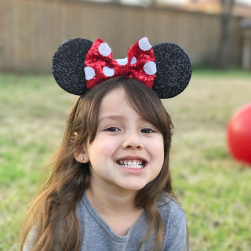 Girl Cute Black Mouse Ears Hairband With Sequin Hair Bow Kids Bling Glitter Hair Bands Holiday Hair Accessories For Children