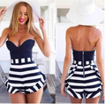 New Summer Style Rompers Womens Jumpsuit Short 2016 Summer Ladies Rompers Vintage Tight striped Siamese Culottes Jumpsuit Shorts