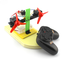 DIY air propeller power boat, technology production toy  boat model, manual assembly motor propeller suit 2 sets green model miniature of delight mini solar car stepper motor diy for production technology teenage enlightenment toy
