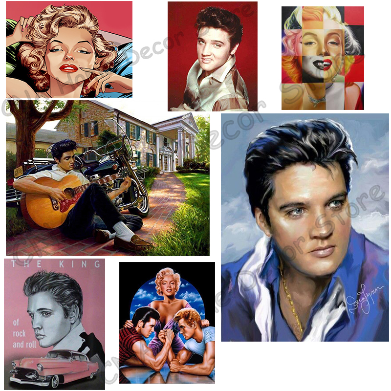 King of Rock Elvis Foto Drill Mosaic Photo 5D DIY Diamantmaleri 3D Cross Stitch Kit Hjem broderi Diamond Decor for gifts