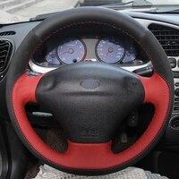 Black Red Leather Black Suede DIY Car Steering Wheel Cover for Ford Fiesta 4 Mk4 1996 2006 Old Fiesta