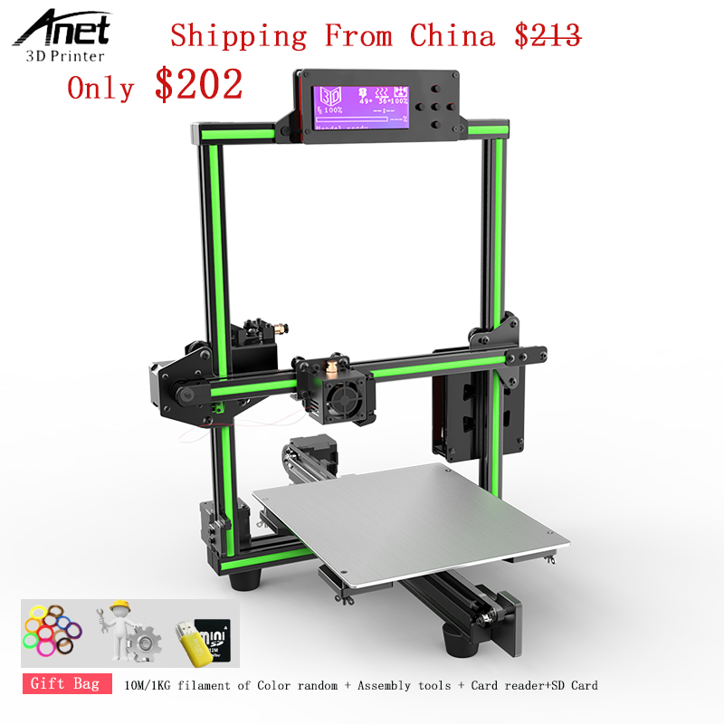 2018 Anet E2 impresora 3d 3D Printer Kit Easy Assembly Big Printed Size DIY Delta 2004LCD with 10m /1KGPLA Filament 8GB Sd Card