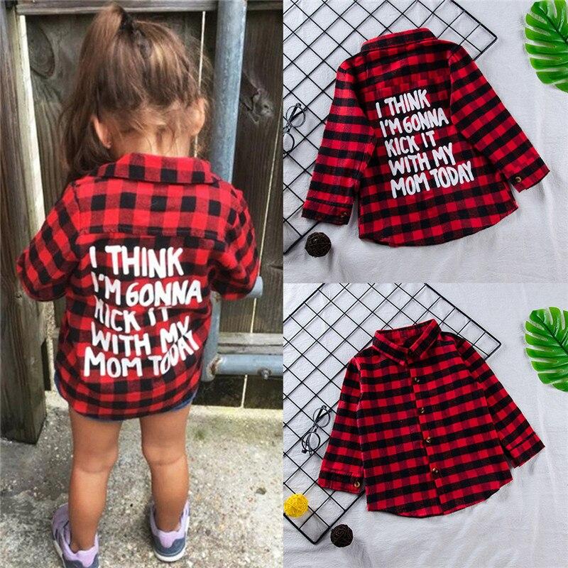 Puseky nueva moda Niño niños niño ropa manga larga rojo Plaid Back letra  imprimir T shirt camiseta Blusa ropa de los niños 1 6 t en Camisas de Mamá  y bebé ... 748b579cf46a