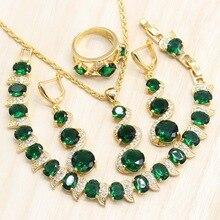 0d1220f25da0 Color oro mujeres 4 piezas boda juegos de joyería verde Cubic Zirconia  pendientes