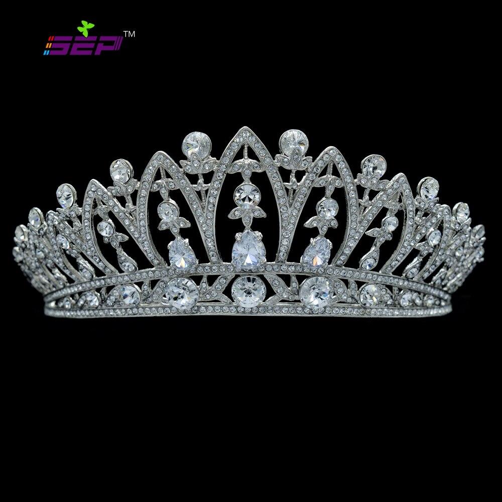 Trendy bridal headpiece - 2016 New Real Tiaras Trendy Princess Wedding Tiara Crown Drop Really Austrian Zircon Crystals Bridal Hair