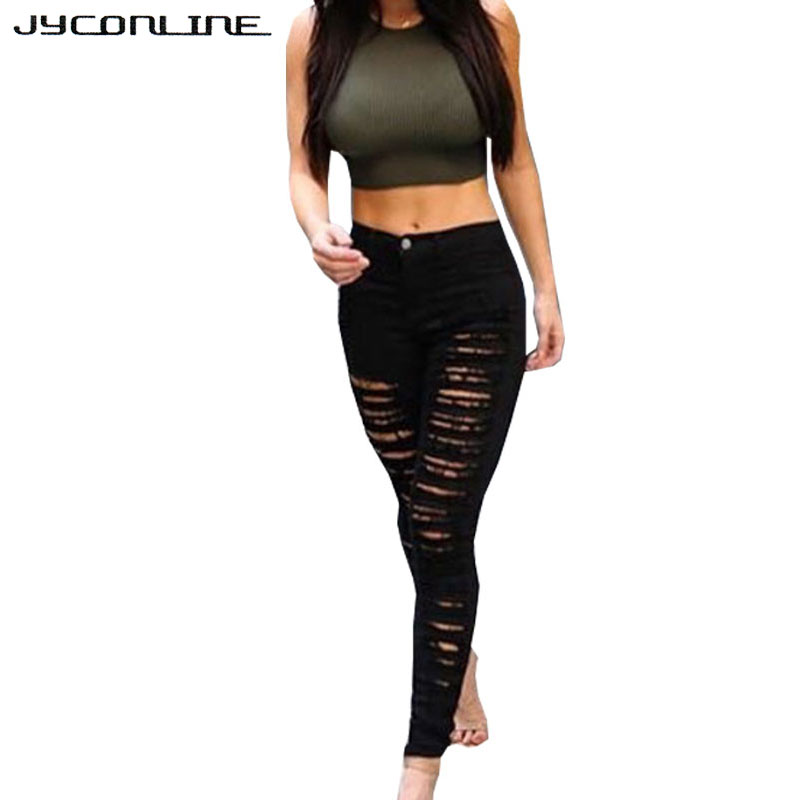 Skinny High Waist Jeans Woman Ripped Jeans For Women Denim Pencil Pants Slim Trousers For Women Elastic Women's Jeans Female ripped jeans for women 2016 high waist woman skinny pencil pants sexy holes black ripped jeans slim elastic trousers for women