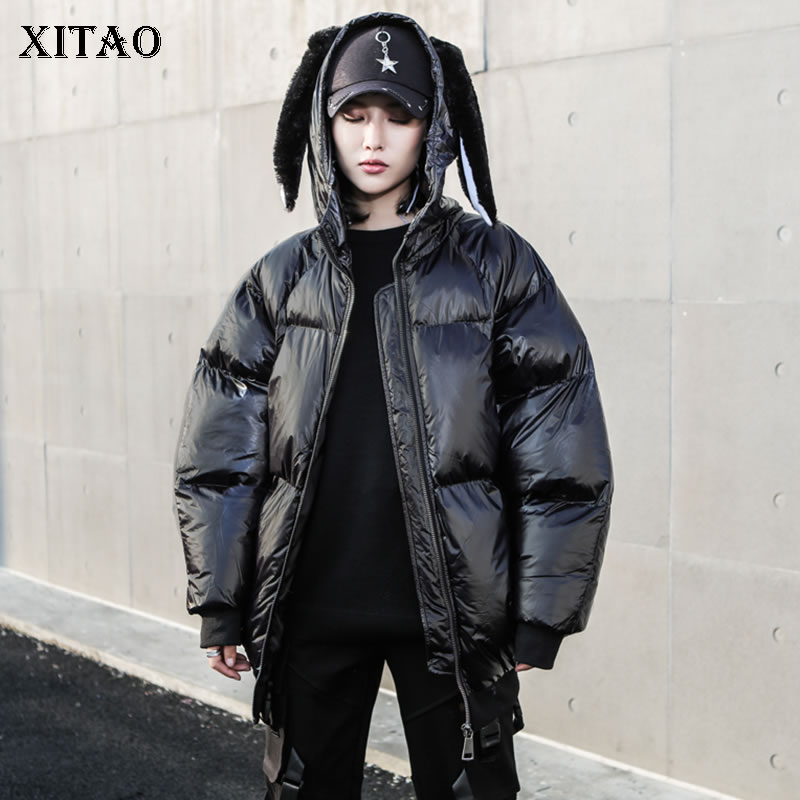 [XITAO] Streetwear Fashion New Women Winter Spring Solid Color Coat Female Stand Collar Full Sleeve PU Loose   Parka   LYH2567