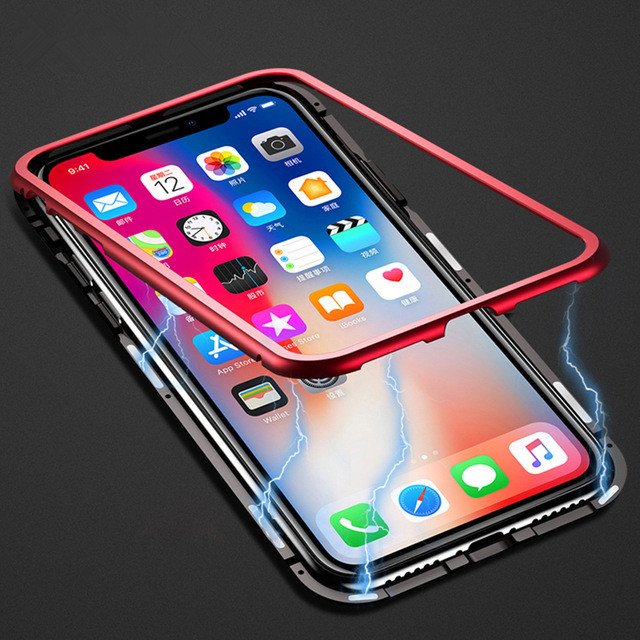 Magnetic Adsorption Metal Phone Case For Samsung Galaxy S9 S9Plus Tempered Glass Back Cover For iPhone X 10 7 8 Plus