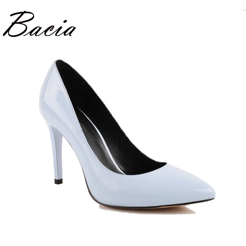 Bacia shoes Summer Genuine Leather High Heels Women Classic 9.5cm Thin Heel Pointed Toe Pumps Fashion Party Classical Shoe VB002 2017 new summer women flock party pumps high heeled shoes thin heel fashion pointed toe high quality mature low uppers yc268