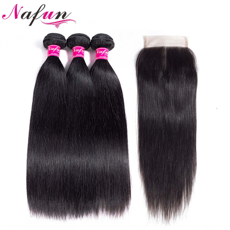 NAFUN Hair 3 Bundles With Lace Closure 100 Brazilian Straight Natural Color Human Hair Non Remy