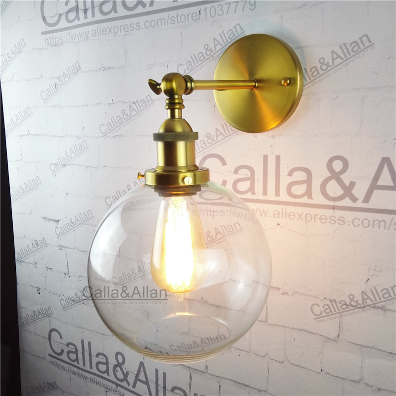 Free shipping round ball clear glass shade antique wall light sconce E27 AC110V/220V edison antique brass style wall lamp amber glass lampshade round ball brass wall lamp e27 ac110v 220v beside sconce antique brass wall light up and down industrial