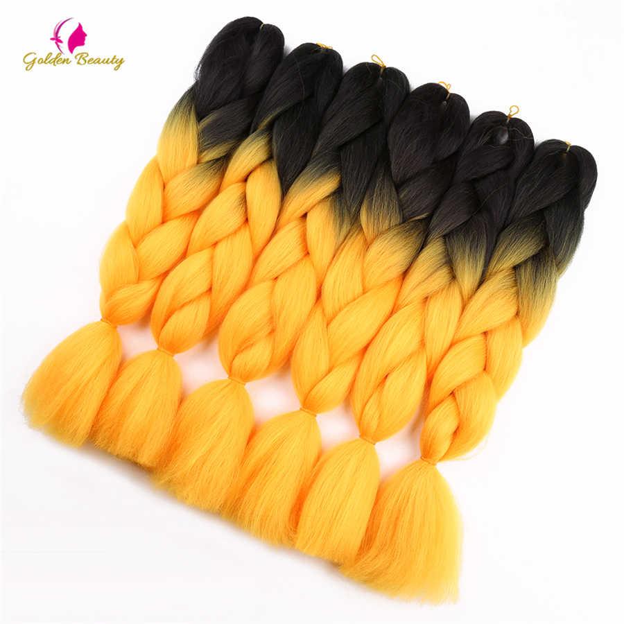 Jumbo Vlechten Synthetische Haak Hair Extensions Gehaakte Vlechten Haar Lange Ombre Jumbo 24inch 100g 2T 3T 4T Gouden Schoonheid