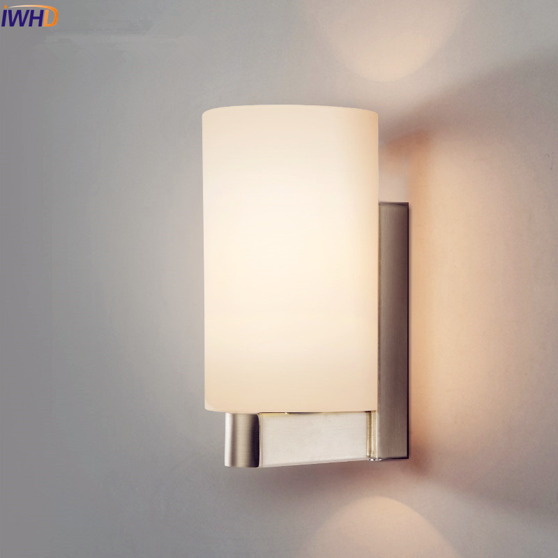 IWHD White Iron Modern LED Wall Lamp Lights For Home Living Room Bedroom Wall Sconce Stair Light Arandela Glass Lampshade iwhd nordic modern led wall lamp living room fabric switch led wall light stair arandela lampara pared