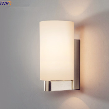 IWHD White Iron Modern LED Wall Lamp Lights For Home Living Room Bedroom Wall Sconce Stair Light Arandela Glass Lampshade iwhd golden led wall light bathroom bedroom glass ball wall lamp modern sconce led stair lights lamparas de pared