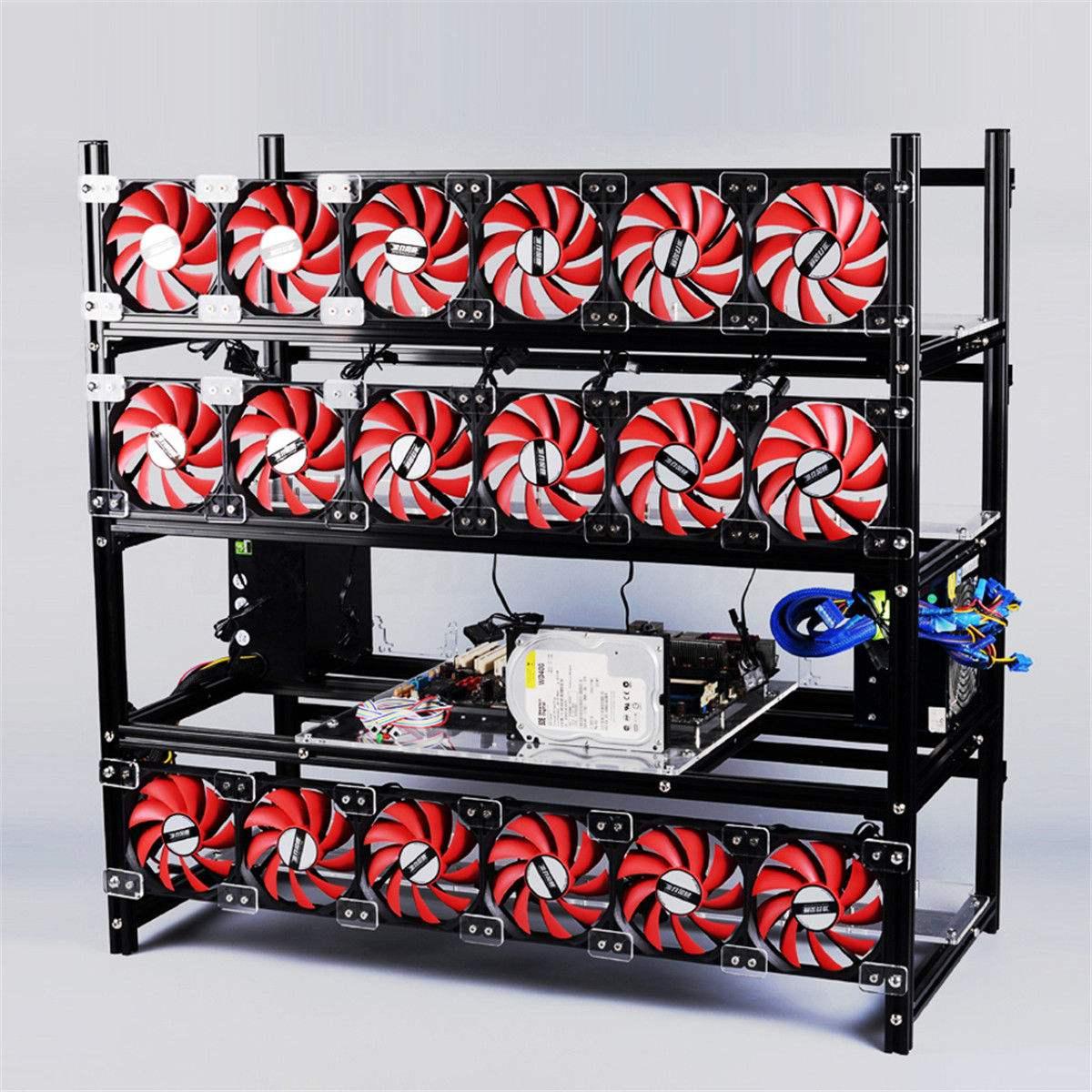 Argento Mining Rig Caso di Alluminio Impilabile Telaio All'aria Aperta ETH/ZEC/Bitcoin Tenere 19 Gpu Supporta 18 Fan