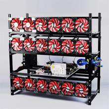 Silver Mining Rig Aluminum Stackable Case Open Air Frame ETH/ZEC/Bitcoin Hold 19 GPUs Supports 18 Fans