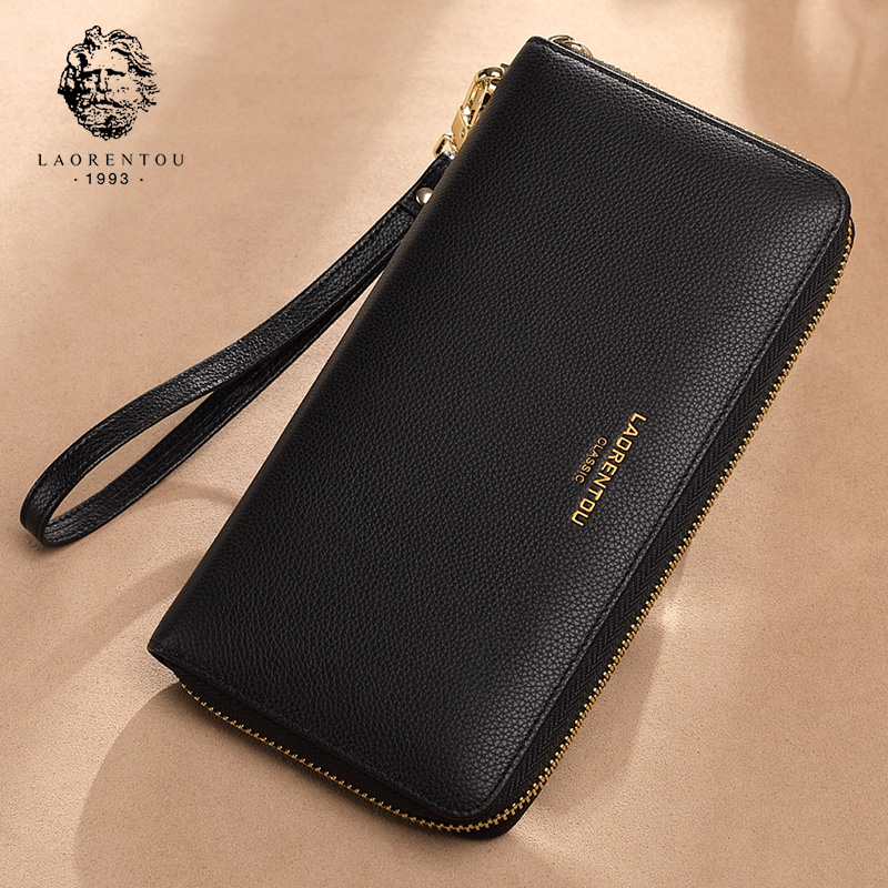 LAORENTOU Wallet Natural Genuine-Leather Cluth-Bags Long-Purse Female Large-Capacity
