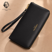 LAORENTOU Brand Unisex Genuine Leather Long Wallets Female Large Capacity Purse Lady Cluth Bags Man Natural Wallet
