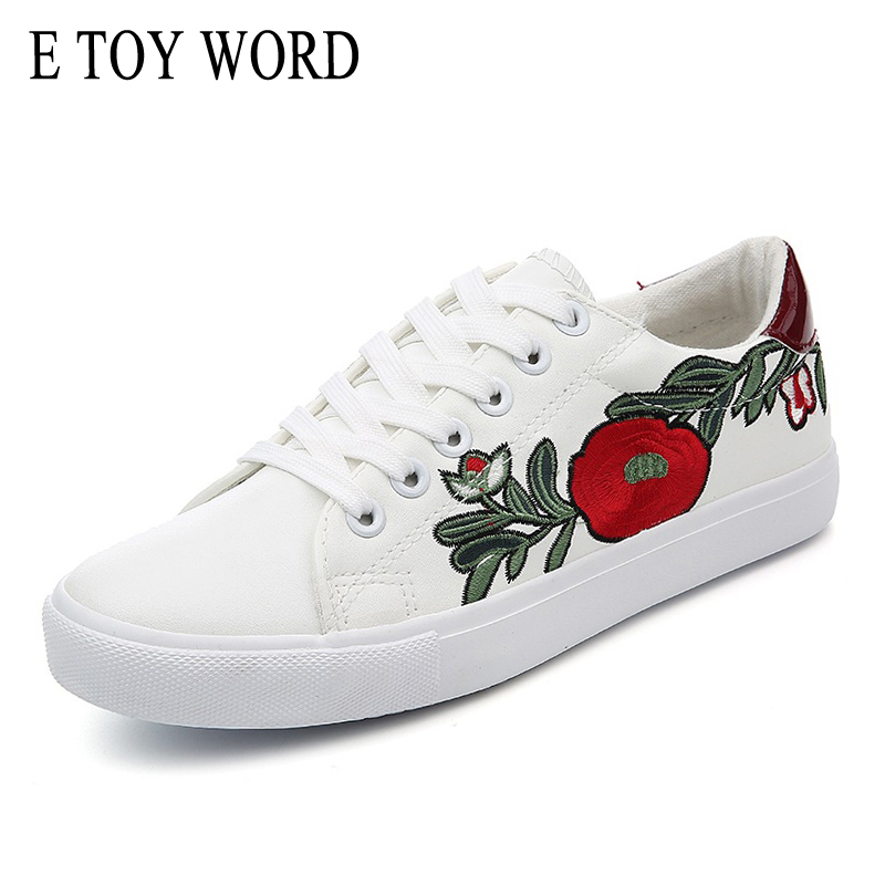 E TOY WORD Spring New Women Small White Shoes Flats Lace-Up Casual Shoes Women Breathable Embroidered Shoes Zapatillas Mujer new air mesh women casual shoes breathable outdoor sport walk flats brand lace up low heel footwear zapatillas deportivas mujer
