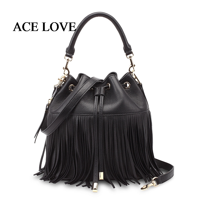 2017 Tassel Bucket Women Bag New Fashion Genuine Leather Female Shoulder Bags String Luxury Brand Ladies Handbags Large Tote Bag smiley sunshine brand serpentine leather women handbags hobo tote bag female snake tassel big shoulder bags ladies crossobdy bag