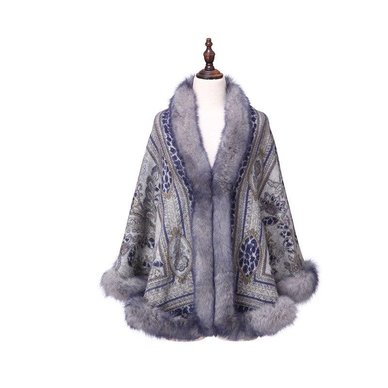 ZY87040 Design spécial luxueux cachemire en forme d'arc col de renard imprimé hiver noël femmes châle enveloppe Pashmina - 3