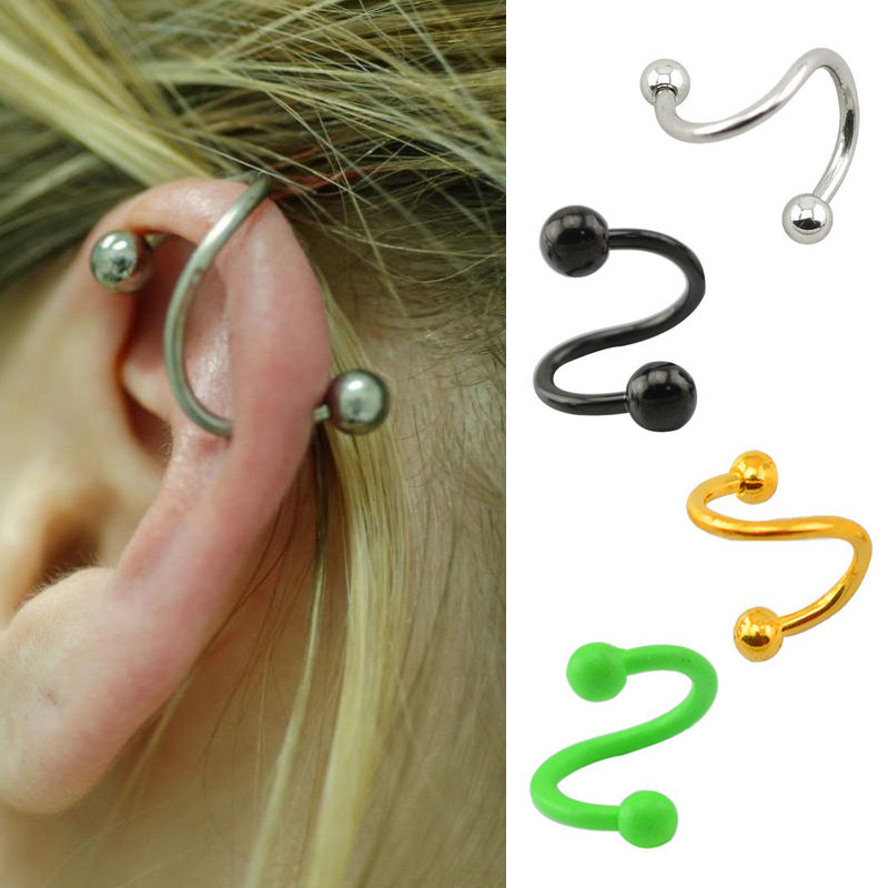 16G Stainless Steel Spiral Twisted Rings lip piercing labret piercing jewelry Helix Ear Stud Lip Nose Ring Cartilage Piercing