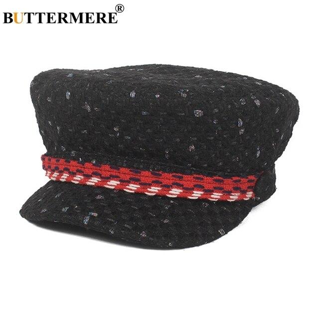 BUTTERMERE gorra militar Mujer gorras planas Vintage de pico de pato  sombrero de marinero elegante otoño 46cab569267