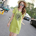 New Fashion 2017 Summer Arts style High Quality cotton linen Loose casual Women Dresses Vintage Ink Printing Short sleeve Dress
