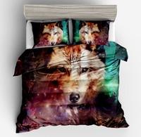 Where Light And Dark Meet by Bedding Set Wolf 3D Duvet Cover Pillow cases Wolf Eye Bed Set 3pcs Art Print Bedclothes full size