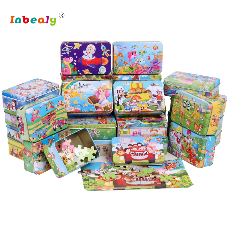 60Pcs/Set 3D Wooden Puzzle Cartoon Toy DIY Wood Puzzle Iron Box Package Jigsaw Puzzle Educational Montessori Toys for children 3d wooden revolver gun army fans military enthusiasts jigsaw puzzle toy for diy handmade puzzles weapon educational wooden toys