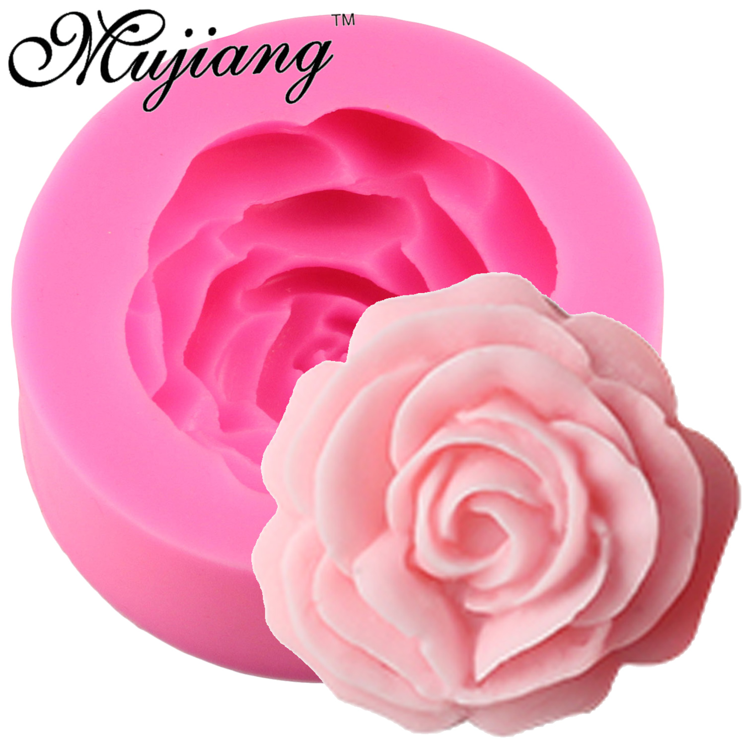 Mujiang 3D Rose Flower Candle Silicone Mold For Fondant Cake Decorating Tools Sugar Craft Chocolate Candy Fimo Clay Soap Molds