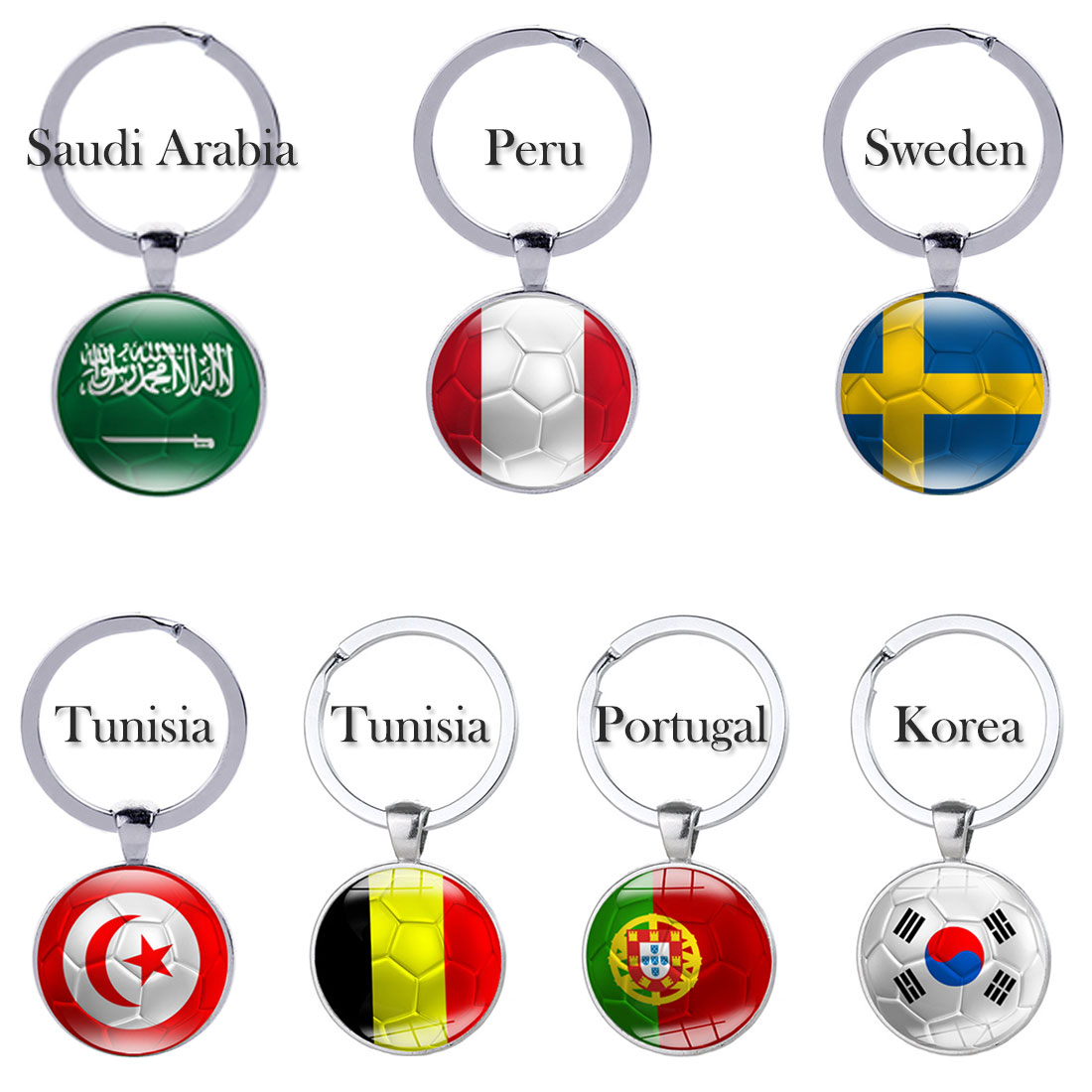 Hot Sell Football Keychains Key Ring 32 Countries Peru Sweden Tunisia Senegal Soccer Key Chains Souvenir Wide Varieties