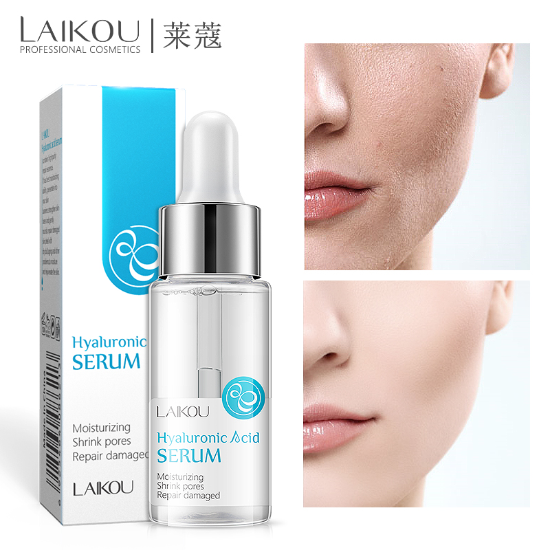 Laikou Hyaluronic Acid Serum Moisturizing Essence Face Cream Korean Shrink Pores Lanbena Acne Hyaluron Cosmetics Make Up  15ml