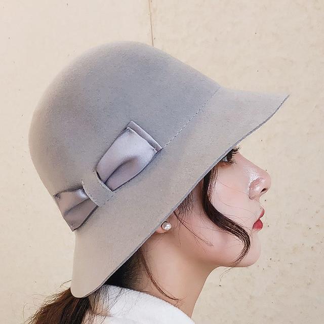 2018 Elegant Woman Hats Wool Fedoras Hat British Fashion Bow Wool Felt Church  Hats Ladies Bowler 996ac422cf4