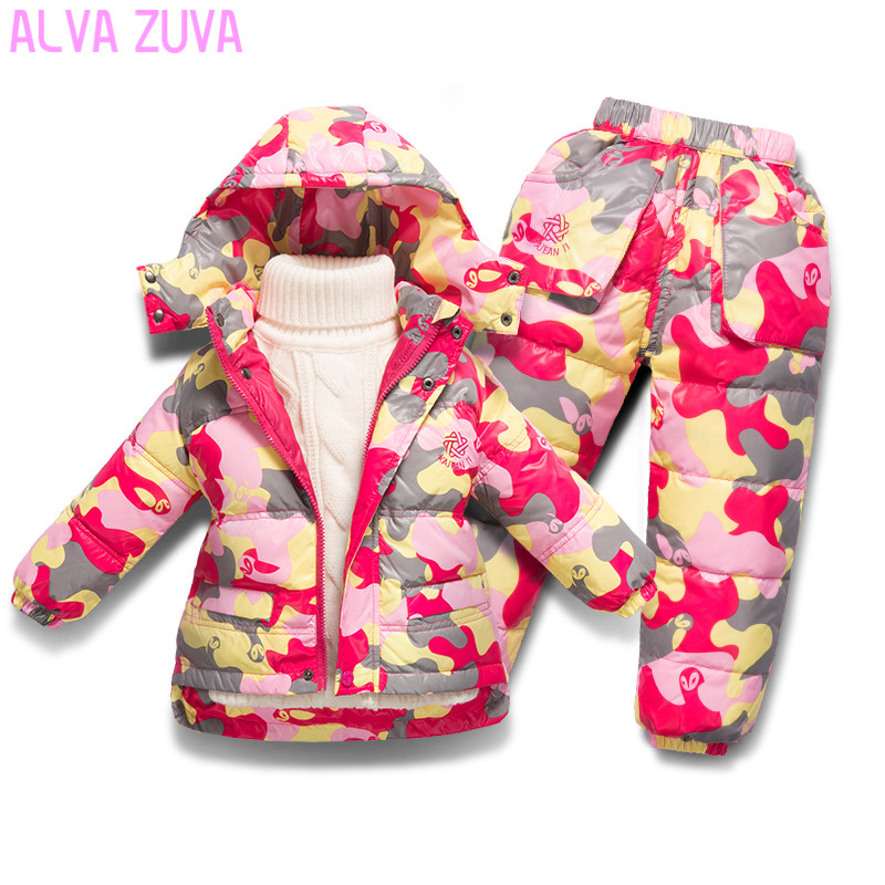 ALVA ZUVA 2017 Children Winter Clothing Set Kids Ski Suit Baby Boy Girl Down Jacket Coat + Jumpsuit 2Pcs/Suit Clt319 цена 2017