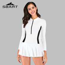Sbart New Patchwork One Piece Swimsuit Dress Sport Rash Guard Swimwear Women Zipper Design Suits Long Sleeve Surfing 2019