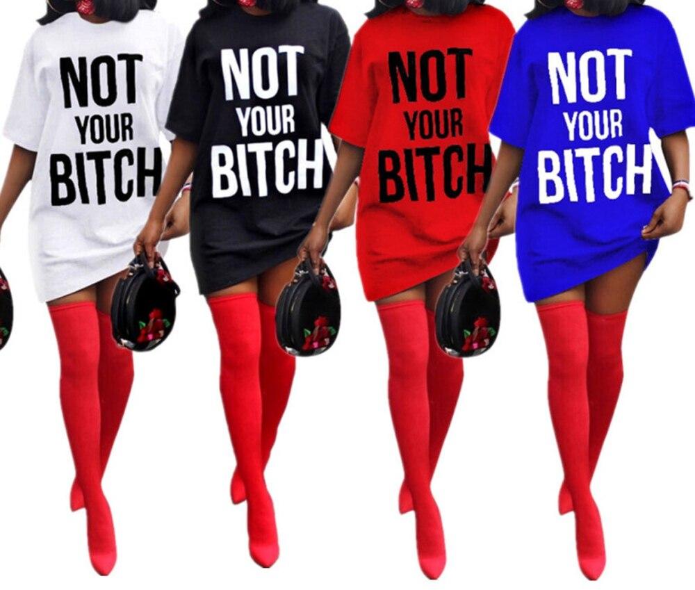 Women Summer Funny Long T Shirt Dress Femme White Black Blue Red Baseball T-shirt 2019 Korean Clothing Streetwear Vogue Top Tee