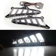 MZORANGE 2Pcs LED For Toyota C-HR CHR 2016 2017 2018 2019 DRL Daytime Running Light Yellow Turn Signals and White Night Light цена в Москве и Питере