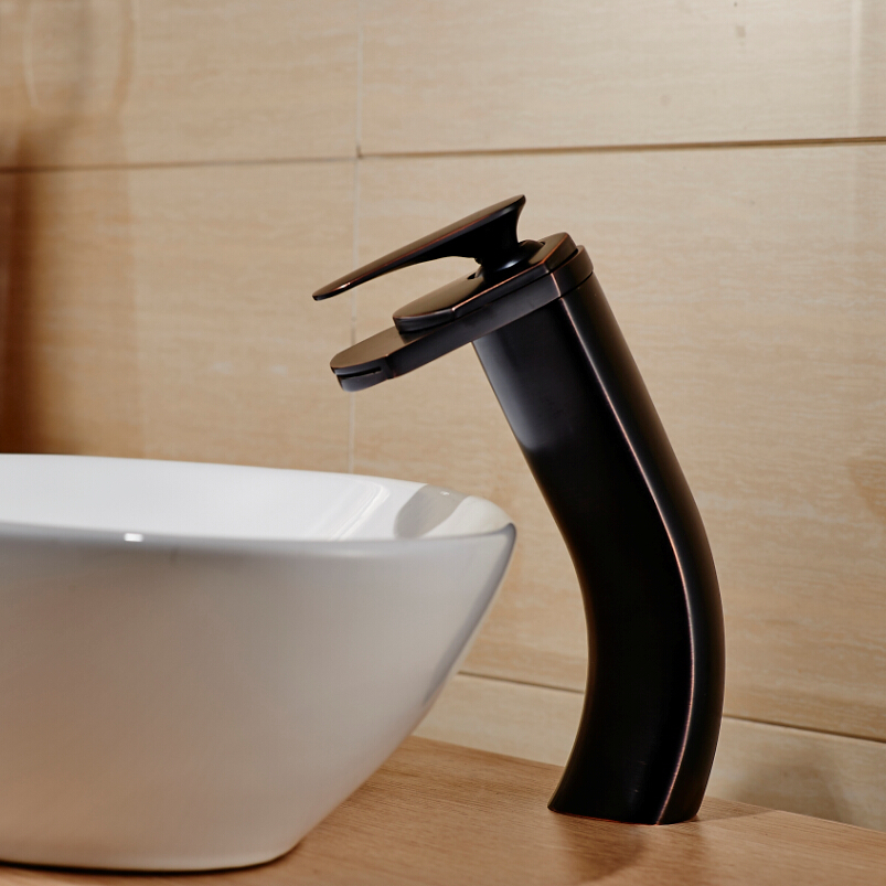 ФОТО ORB Black Deck Mount Countertop Basin Vanity Sink Mixer Faucet Single Handle Waterfall Hot and Cold Taps
