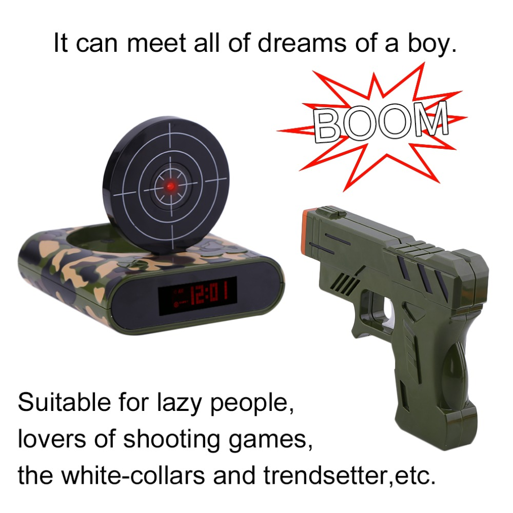 Novelty Infrared Shooting Alarm Clock Funny Children LCD Screen Display Bedroom Alarm Clock Target Alert Gun Type Clock 2018 NEW creative target toy led red word display mute alarm clock