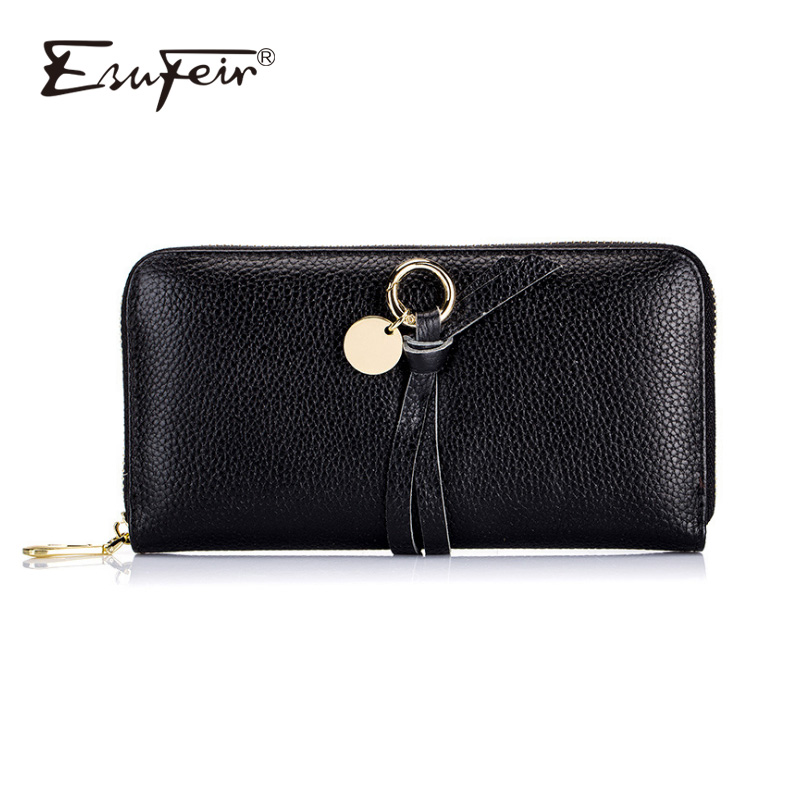 ESUFEIR Genuine Leather Women Wallet Cow Leather Standard Long Wallet Female Clutch Fashion Multiple Cards Holder Coin Purses