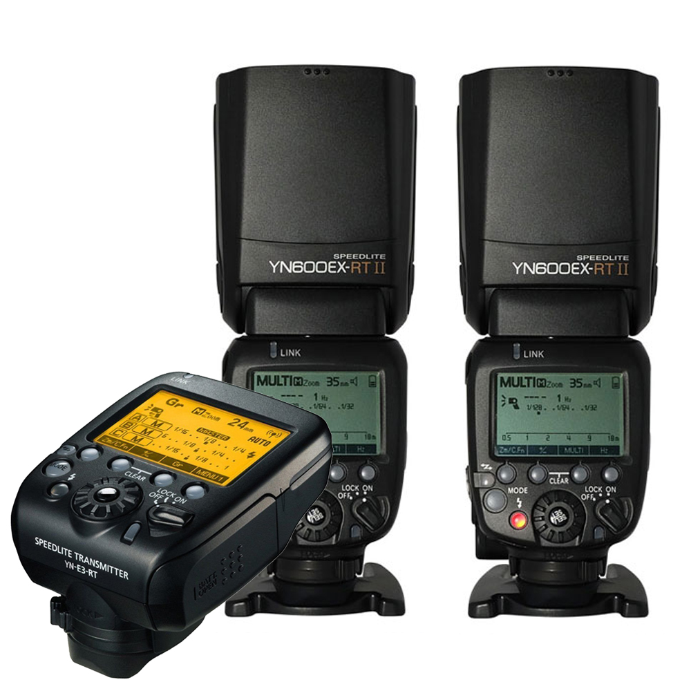 Yongnuo 2pcs Yn600ex-rt II Wireless HSS Flash with Yn-e3-rt Radio Transmitter Set Light for Canon 1dx 1ds III 1d 5diii 5dii 6d yongnuo 3x yn 600ex rt ii 2 4g wireless hss 1 8000s master flash speedlite yn e3 rt flash trigger for canon eos camera 5d 6d