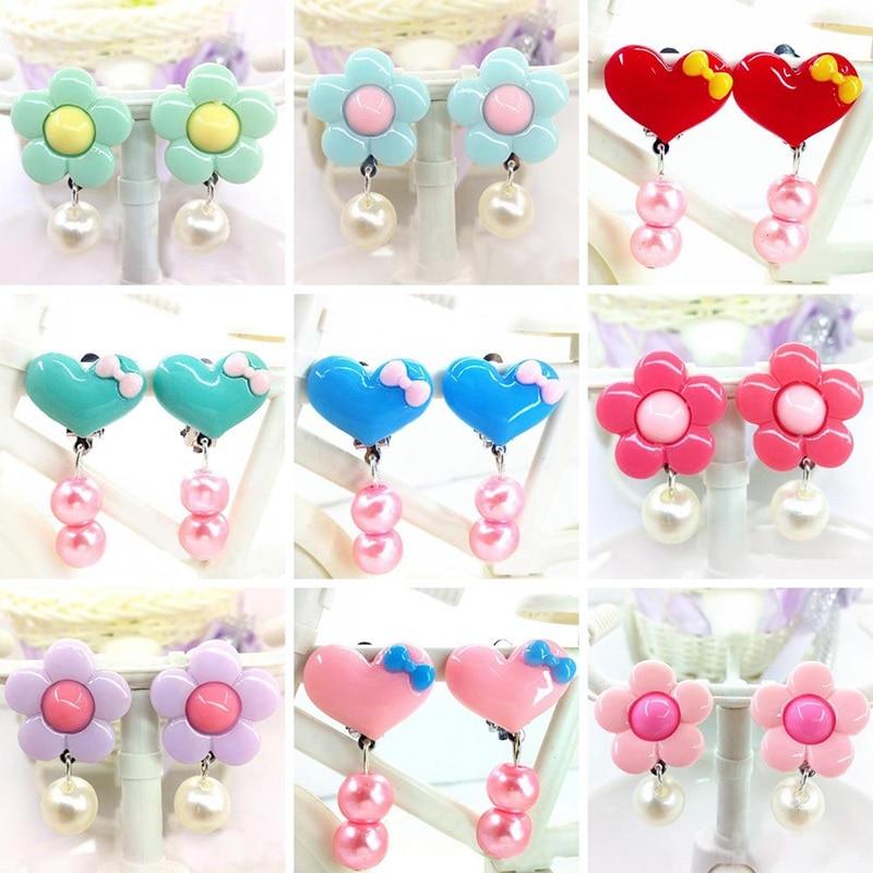 1 Para Ohrclip Korean Trendy Kind Kinder Blume Weiches Kissen Ohrclip Kein Piercing Ohrring