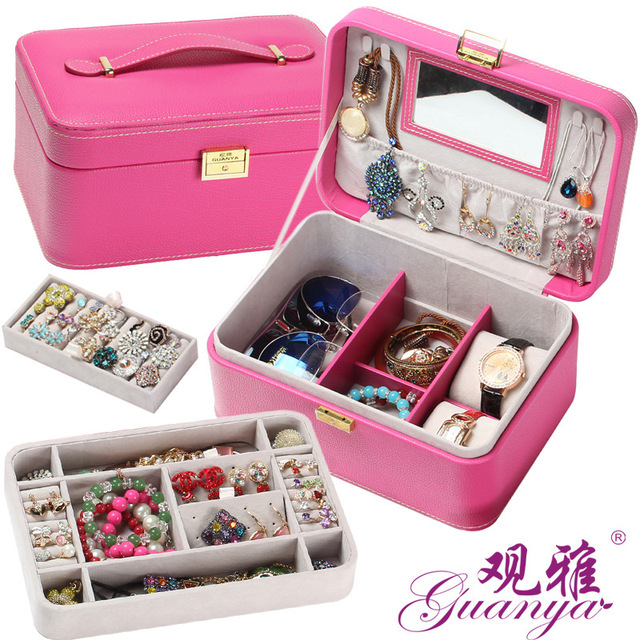 Hot selling large Portable Manufacturers high-grade Corner rounded leather jewelry box , carrying case,women girls gift