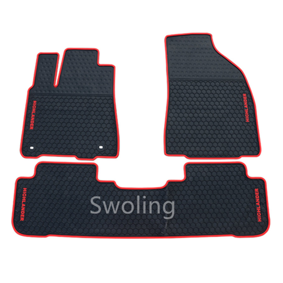For Toyota Highlander 5seats 2015-2017 High Quality Waterproof Anti Skip Latex Durable Carpets Special Rubber Car Floor Mats