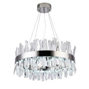 Image 3 - חדש מודרני מסעדת נברשת כרום/זהב עגול קריסטל מנורת סלון קישוט נברשת LED מלון מנורה