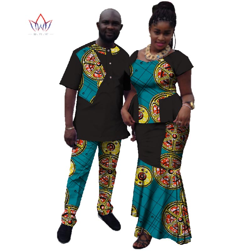45dee0a9d95ae Summer Couple African Clothing Traditional African Clothing For Women Men  Bazin Riche Dashiki Women Skirt Set